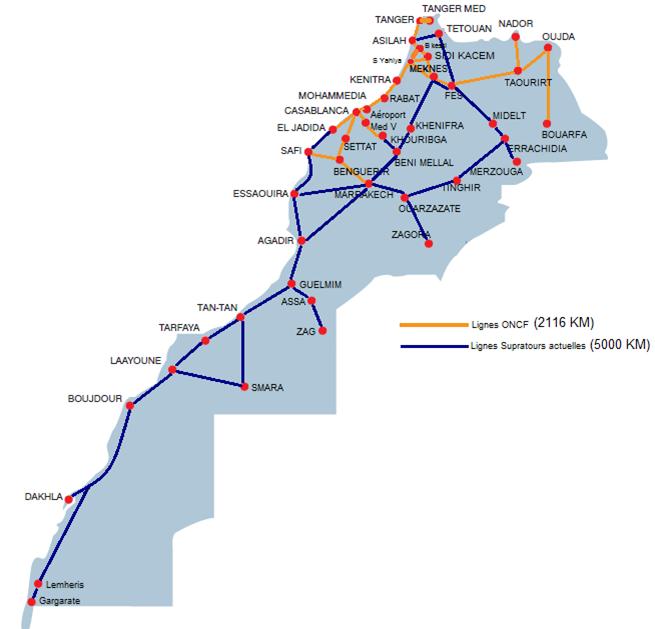 モロッコ 鉄道路線図